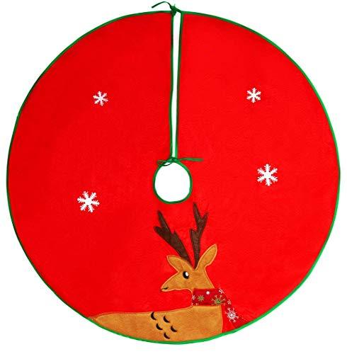 QILICZ Weihnachtsbaum Rock, Weihnachtsbaumdecke Rentier Baum Rock Christbaumständer Geschenkdecke Dekoration Weinachten Tannenbaum Dekorationen Baumdecke Ø 90cm