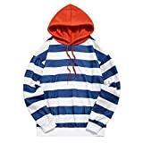 ZEZCLO Männer Casual Hoodie Gestreifter Print Fleece Langarm Lose Pullover Sweatshirt (2XL, BLAU)