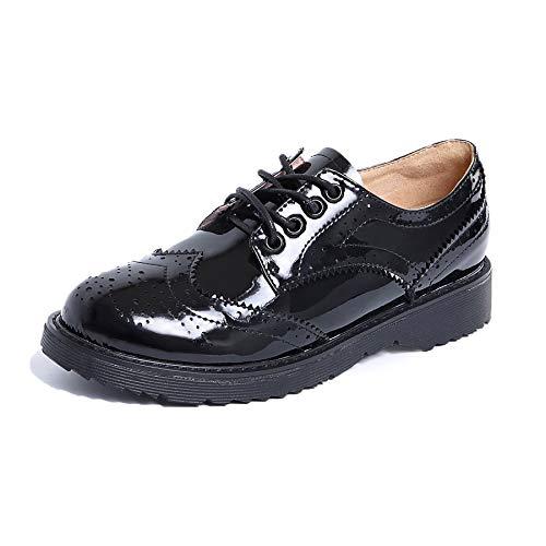 Nincyee Mujer Cuero Charol Derby Brogues Zapatos de Cordones Vintage College Niñas Oxford