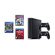 Sony PlayStation 4 Slim 500 GB Console with Two DualShock 4 Controllers with 3 Games: Ratchet & Clank, Spiderman, Uncharted Collection with 3 Months PSN+ Subscription