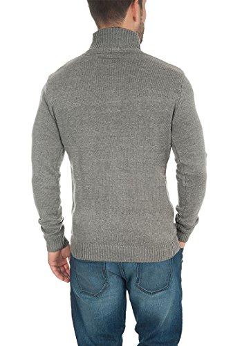 SOLID Tristian Herren Strickjacke Cardigan Grobstrick mit Stehkragen aus hochwertiger Baumwollmischung Meliert Grey Melange (8236)