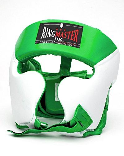 Ringmaster UK Casco Protector para Boxeo Piel Sintética Color Verde y Blanco, Hombre Mujer, Green and...