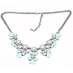 Damen Vintage Blume Strass Bubble Bib Choker Statement Halskette (Grün)