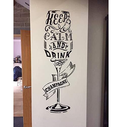 b 'Ruhig Und Trinken Sektglas Wandaufkleber Vinyl Aufkleber Hohe Küche Home Decor Wandbild ()