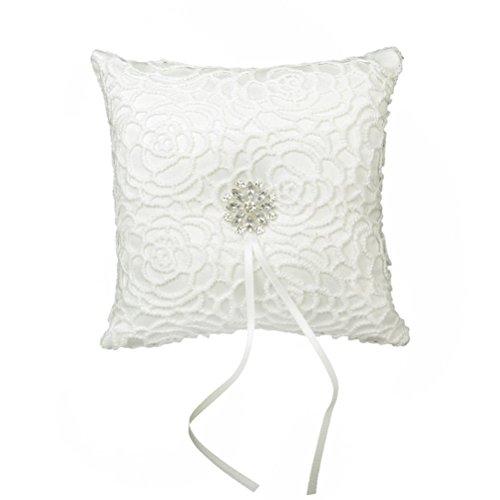 UEETEK 15*15cm Ivory Satin Wedding Ring Pillow Pocket Ring Bearer Pillow Cushion