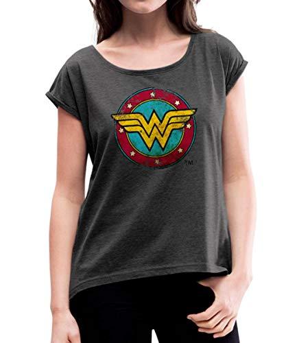 DC Comics Wonder Woman Logo Bouclier T-Shirt à Manches retroussées Femme, M (38), Noir chiné