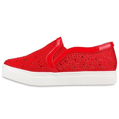 Damen Slip-ons Kroko Optik Sneakers Metallic Slipper Bequem Rot Camiri  Strass ...