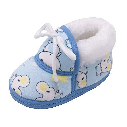 Elecenty invernali caldi scarpine neonato primi passi ragazze e ragazzi cartone animato scarpe con zeppa stampata fluff calzature 6~12 mesi