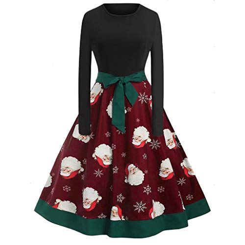 ODRD Clearance Sale [S-2XL] Weihnachten Damen Kleider Kleid MäDchen O Hals Druck Vintage Kleid Abend Minikleid Festliche Frauen Abendkleid Spitzenkleid Elegant Brautkleid Vintage Petticoat Dress Party