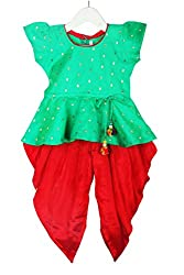 Stylish Diva Dhoti Peplum Top - Green & Red