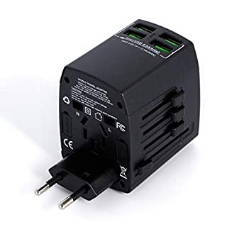 Worldwide International Travel Adapter 4 USB Charging Ports By MLPC Accessories – Travel Plug for Mobiles Tablets & Many Devices USA Europe UK Australia Asia South America and Many Others (Black)