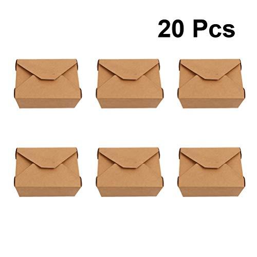 UPKOCH Kraftpapier Box Einweg Verpackung Zubehör für Lebensmittel Essen 20 Pcs