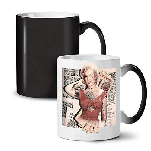 Monroe Deck (Wellcoda Monroe As Diva Berühmtheit Farbwechselbecher, Zocken Tasse - Großer, Easy-Grip-Griff, Wärmeaktiviert, Ideal für Kaffee- und Teetrinker)