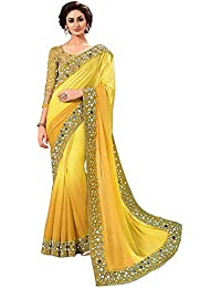 Shiroya Brothers Women's Georgette Embroidered Saree with Blouse Piece (SB_Sari_7812_Yellow_Free Size)