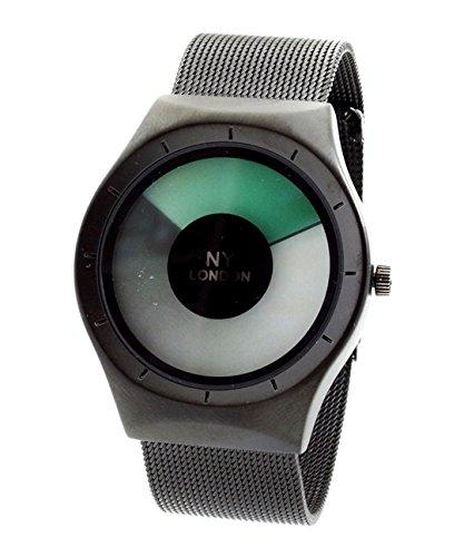 NY London Men'' s Metallgewebe Strap schwarz grüne LED-Anzeige Luxus Quarz Flexible Verschluss Extra Uhrenbatterie