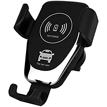Titir Qi Wireless Car Charger,Car Mobile Holder, Fast Charging Auto-Clamping Car Mount, Windshield Dash Air Vent Phone Holder (Black)