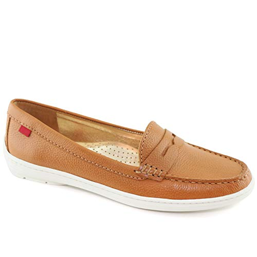 MARC JOSEPH NEW YORK - Atlantic Loafer, Damen, echtes Leder, hergestellt in Brasilien Damen, Braun (Tan Grainy), 39.5 B(M) EU Tan-penny Loafer