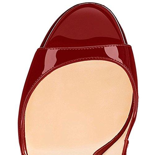 EDEFS- Sandales pour Femme - Chaussures à talons aiguilles - Boucle - Ouvertes à l'arrière femme Burgundy