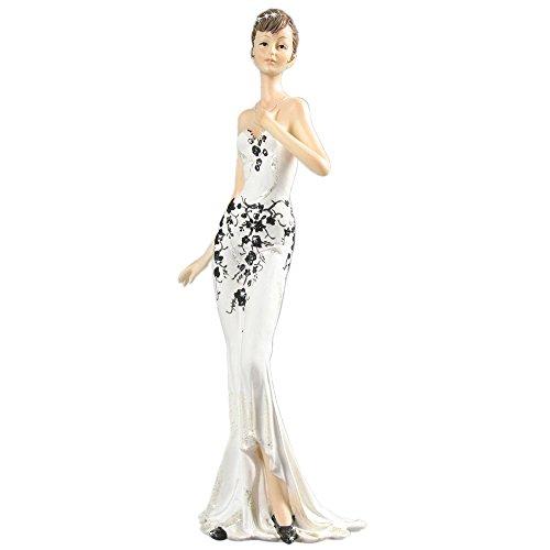 Belles 39.6# Dekorative Figur Dame in einem weißen Kleid Art Deco