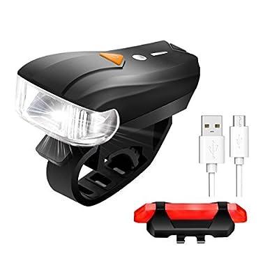 LED Fahrradbeleuchtung,SGODDE 400 Lumen Sensoren Superhell Wasserdicht Fahrradlampe intelligenter Sensor Vorderlicht 5 Licht Modi und rotes Rücklicht mit 4 Modi, USB-Kabel Wiederaufladbare,smarte Fahrradlampensets Rücklicht für Radfahren,Straßenrädern,Kin