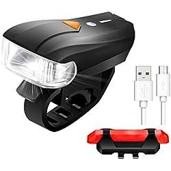 Lámpara para Bicicleta, SGODDE 400 Lúmenes Sensores Superhell Luz de Bicicleta Impermeable Luz Inteligente del Sensor Delantero 5 Modos de Luz y la Luz Roja de la Cola con 4 Modos, Cable USB Recargable, Lámparas de Bicicletas Inteligentes Set Luz Trasera para Bicicletas, Bicis de Carretera, Niños y Ciudad, Mayor Seguridad y Visibilidad