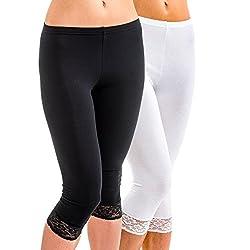 HERMKO 5722 2er Pack Damen 3/4-Leggings mit Spitze, Größe:48/50 (XL), Farbe:weiß/schwarz