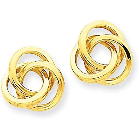 14K oro lucido orecchini nodo d' amore–Misure 11x 11mm