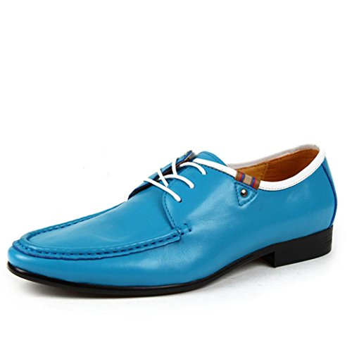 Heart&M affaires occasionnels respirant surface molle hommes fait chaussures lacées en cuir Blue