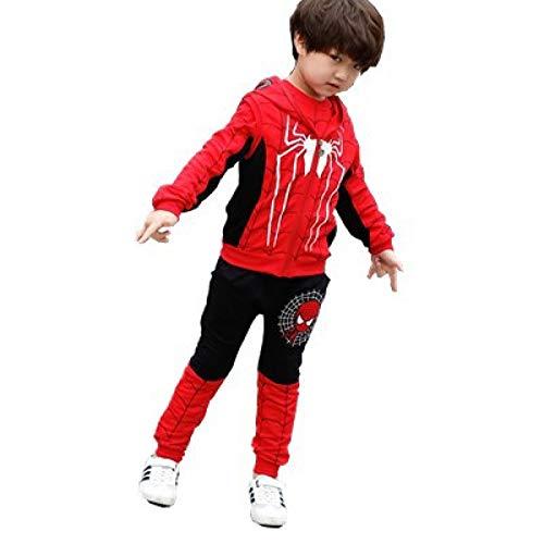 3D Halloween Thema Amazing Spider-Man Kinder Hoodie Marvel Comics Jungen Und Mädchen Pullover Dreiteilige Set,Black-130cm