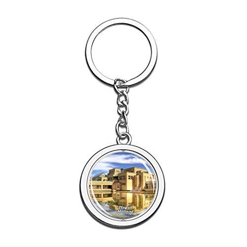 Stadtmuseum Den HAAG Niederlande Netherlands Keychain 3D Crystal Spinning Round Stainless Steel Keychains Travel City Souvenir Key Chain Ring