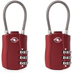 FOXAS 2 Candados para Equipajes Aprobados por el TSA para Equipaje Maletas y Casilleros con Combinación de 3 Dígitos (Rojo)