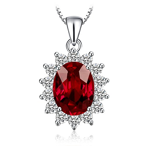 JewelryPalace Kate Prinzessin Diana 2.5ct Natürliche Granat Halo Anhänger Halskette Pure 925 Sterling Silber 18 Zoll