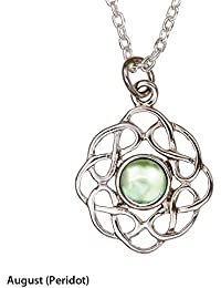 Celtic Birthstone Pendant - 12 Stones to choose from! - Made in Scotland by Art Pewter