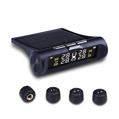 Jansite Reifendruckkontrollsystem Auto TPMS Reifendruck Kontrollsystem Reifendruckmesser mit intern Solarzelle,4 Externe Sensoren, LCD Display (Reifendruck und Temperatur anzeigen) für Auto, SUV, KFZ
