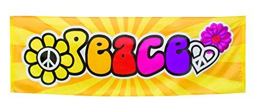 Karneval-Fasching-Shop Riesen Flower Power Peace Mottoparty 70er Jahre Banner Flagge 74cm x 220cm