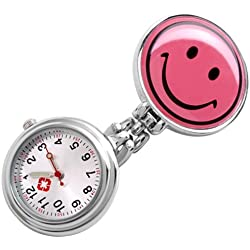 Gleader Smile Face Clip Nurse Pendant Pocket Quartz Watch New