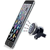 Soporte Movil Coche Magnético para Rejilla de Ventilación de Coche -Silver. MarvTek Compatible con Móvil y Smartphones iPhone 6s / 6 Plus / 5 / 5S / SE, Samsung Galaxy S6 / S6 Edge / S7 / S7 Edge / Note 5 4 3, Huawei, BQ, Sony y GPS.