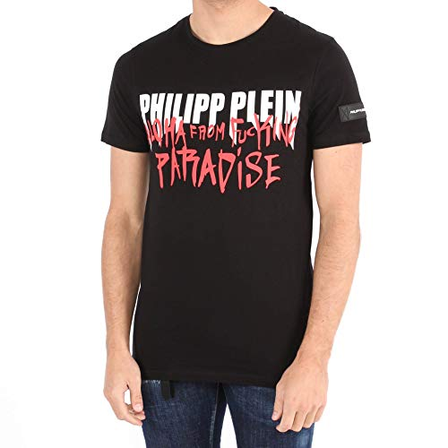 Philipp plein t-shirt platinum cut in cotone mtk2985 black size:l
