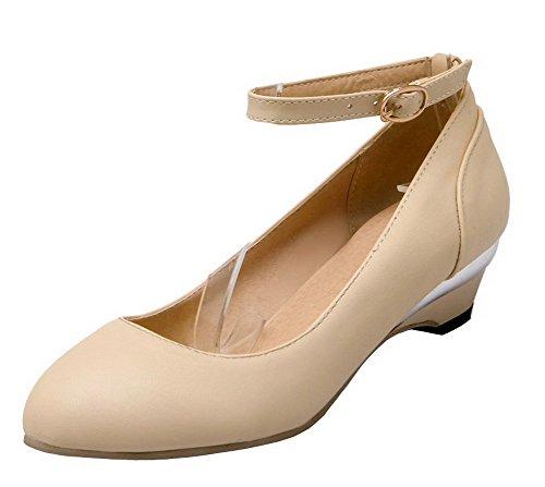 AgeeMi Shoes Damen Schnalle PU Niedriger Absatz Rein Pumps Schuhe,EuD61 Cremefarben 39
