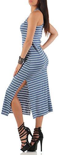 malito Maxikleid im Streifen-Design Sommerkleid 8160 Damen One Size Blau ...