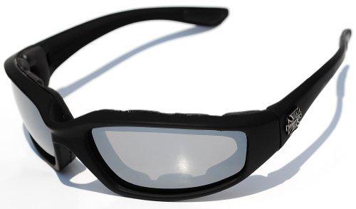 Choppers Biker Padded Motorrad-Schutzbrille-Gläser - Mehrere Objektiv Farben erhältlich! 100 5.5W x 1.625h Schwarz - Spiegel-Objektiv