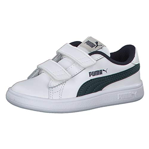 Puma Unisex Baby Smash v2 L V Inf Sneaker, Weiß (Puma White-Ponderosa Pine-Peacoat 10), 26 EU