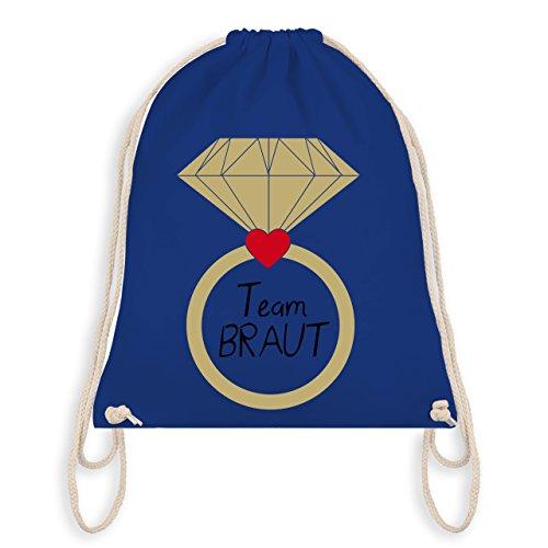 JGA Junggesellinnenabschied - Ring Team Braut Herz - Turnbeutel I Gym Bag Royalblau