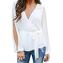 f3df94a75764 Ansenesna Shirt Damen Herbst Weiss Spitze Langarm Elegant Tops Bluse Mädchen  Unifarben Vintage Slim Fit Für