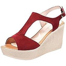 172af4d31851f K-Youth Sandalias Mujer Verano Peep Toe Zapatos Cuña Tacon Alto Casuales  Plataforma Sandalias De