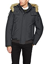 Marc New York by Andrew Marc Men's Boerum Insulated Bomber Jacket with Removable Fur Hood