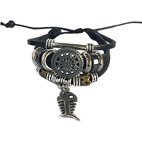 Real Spark Punk estilo Unisex pulsera de piel Vintage Metal anillos colgante Tribal Wrap pulsera
