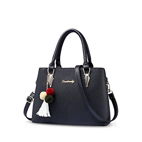 NICOLE&DORIS Donne Superiore Handle Handbags Borsa a tracolla per sacco a tracolla Tappeto nappa Satchel per le ragazze delle signore PU Pelle Rosa Scuro Nero