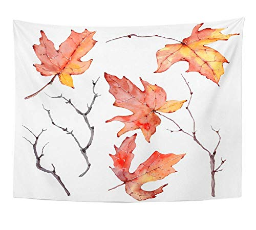 AOCCK Wandteppiche Wall Hanging Orange Branch Watercolor Branches Floral Bohemian Design Yellow Autumn Fall 60