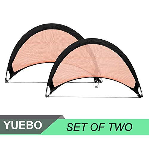 YUEBO Pop Up Football Goals Portable Soccer Nets for Backyard practice   2 Goals   1 Bag  2 5 ft  4 ft  6 ft  Orange Black  4FT